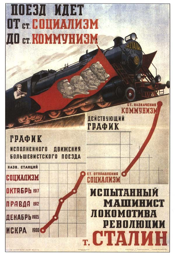 Train from socialism to communism, comrade Stalin drives